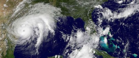 Satellite picture of Hurricane Harvey approaching the coast of Texas