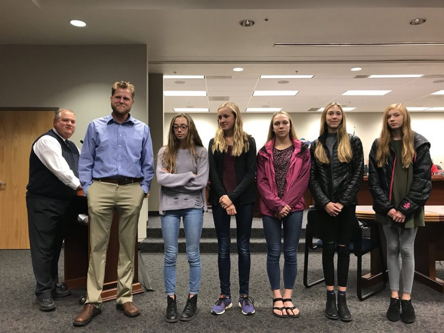 Girls Cross Country team was recognized at a Granite District Board meeting for becoming State Champions. The first ever girls cross country State Championship in Granite District.