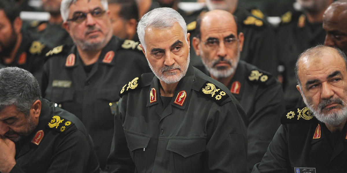 TEHRAN, IRAN - SEPTEMBER 18 : Iranian Quds Force commander Qassem Soleimani (C) attends Iranian supreme leader Ayatollah Ali Khamenei's (not seen) meeting with the Islamic Revolution Guards Corps (IRGC) in Tehran, Iran on September 18, 2016. (Photo by Pool / Press Office of Iranian Supreme Leader/Anadolu Agency/Getty Images)